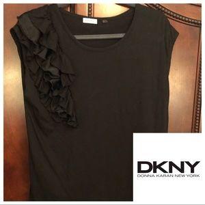 DKNY Wraparound Ruffle Top, M Black
